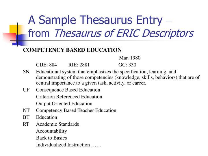 A Sample Thesaurus Entry