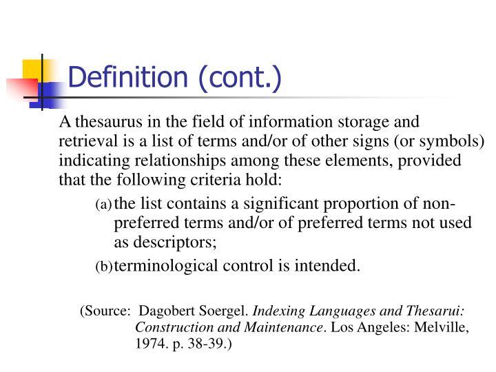 Definition (cont.)