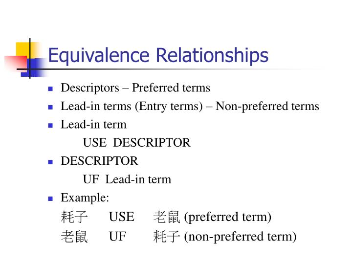 Equivalence Relationships