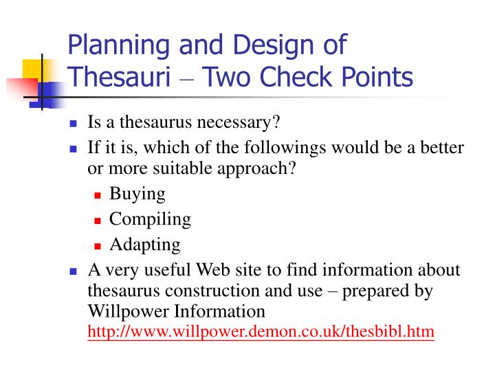 Planning and Design of Thesauri