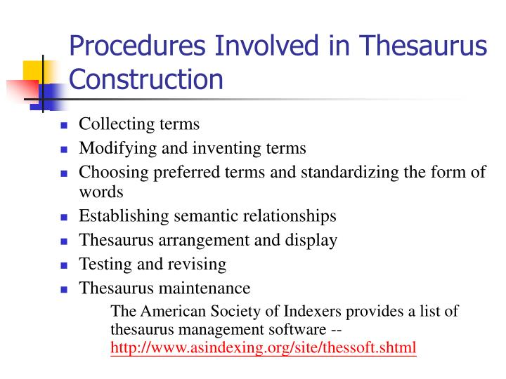 Procedures Involved in Thesaurus Construction