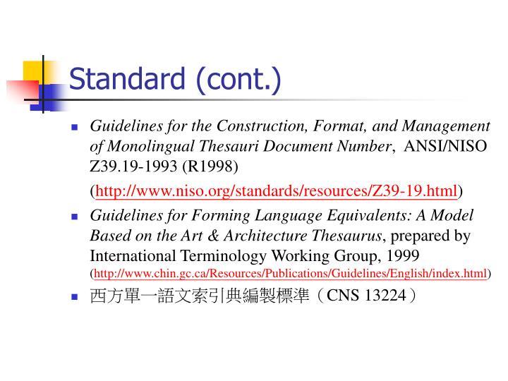 Standard (cont.)