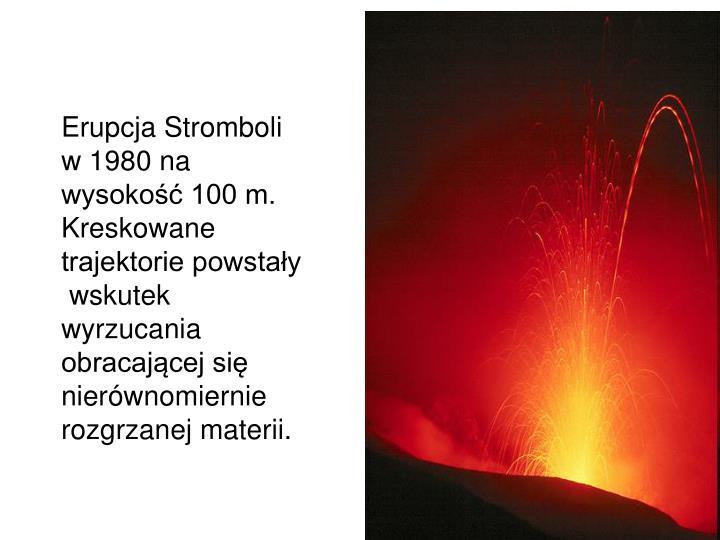Erupcja Stromboli w 1980 na wysokość 100 m. Kreskowane trajektorie powstały
