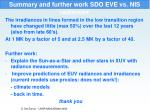 summary and further work sdo eve vs nis radiances