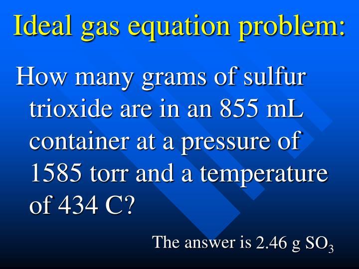 Ideal gas equation problem: