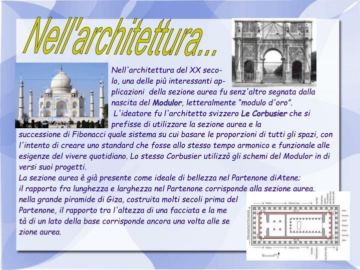 Nell'architettura...