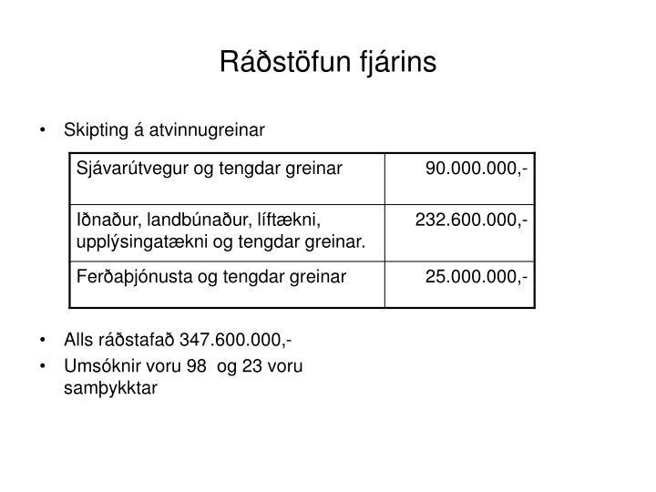 Ráðstöfun fjárins