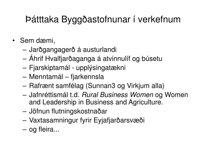 Þátttaka Byggðastofnunar í verkefnum