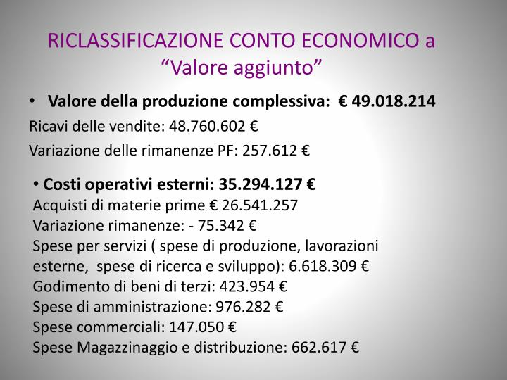 """RICLASSIFICAZIONE CONTO ECONOMICO a """"Valore aggiunto"""""""