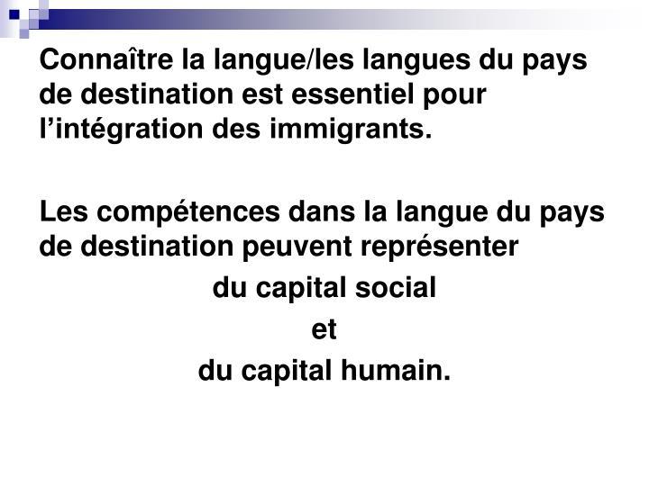 Connaître la langue/les langues du pays de destination est essentiel pour l'intégration des immigrants.