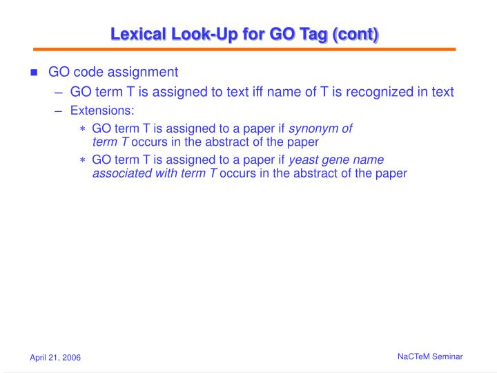 Lexical Look-Up for GO Tag (cont)