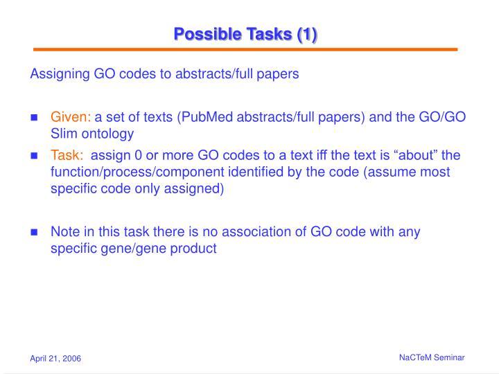 Possible Tasks (1)