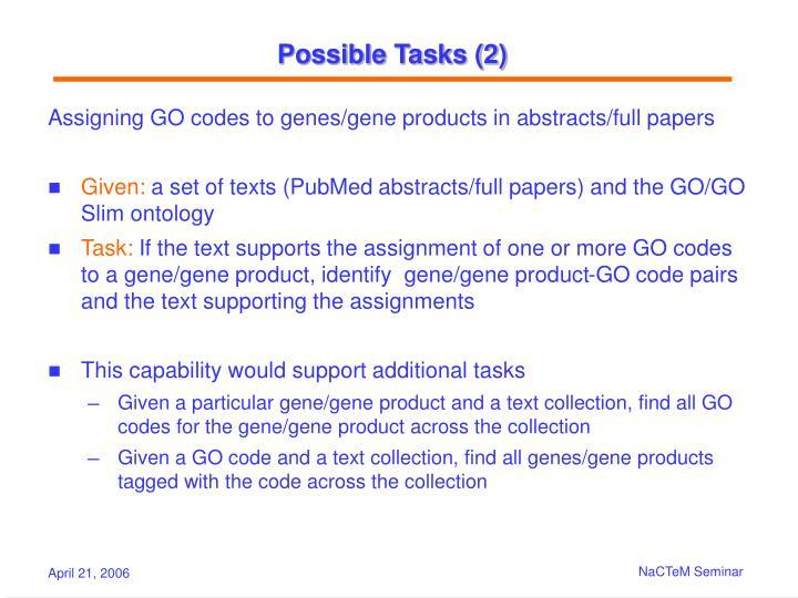 Possible Tasks (2)