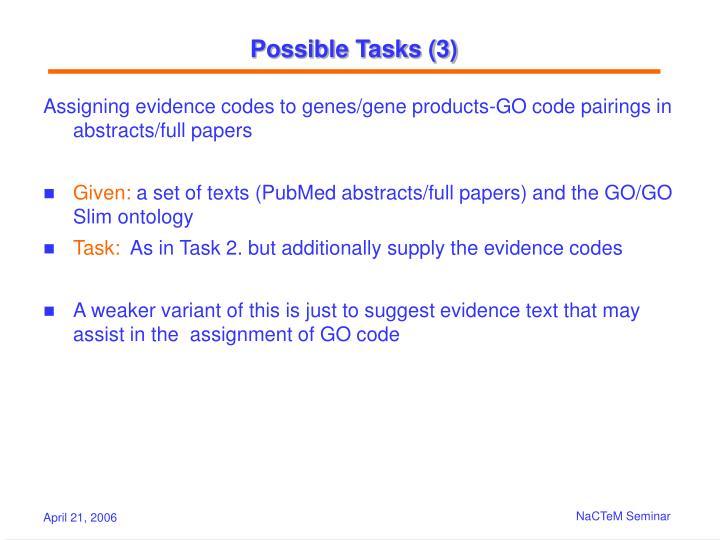 Possible Tasks (3)