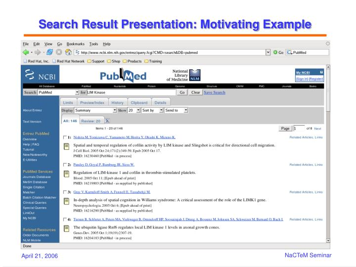 Search Result Presentation: Motivating Example