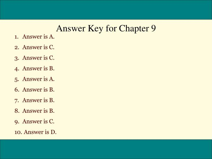 Answer Key for Chapter 9