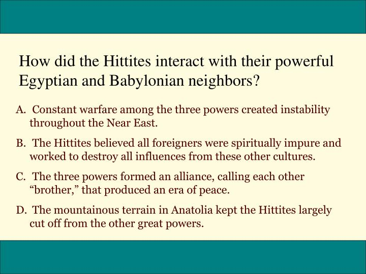 How did the Hittites interact with their powerful Egyptian and Babylonian neighbors?
