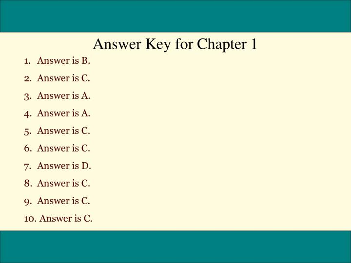 Answer Key for Chapter 1