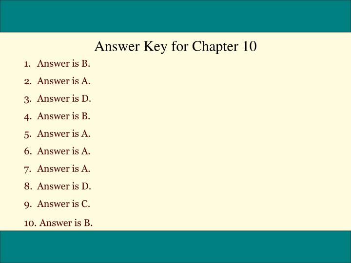 Answer Key for Chapter 10