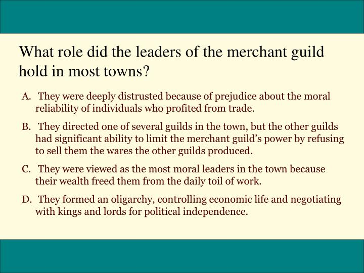 What role did the leaders of the merchant guild hold in most towns?