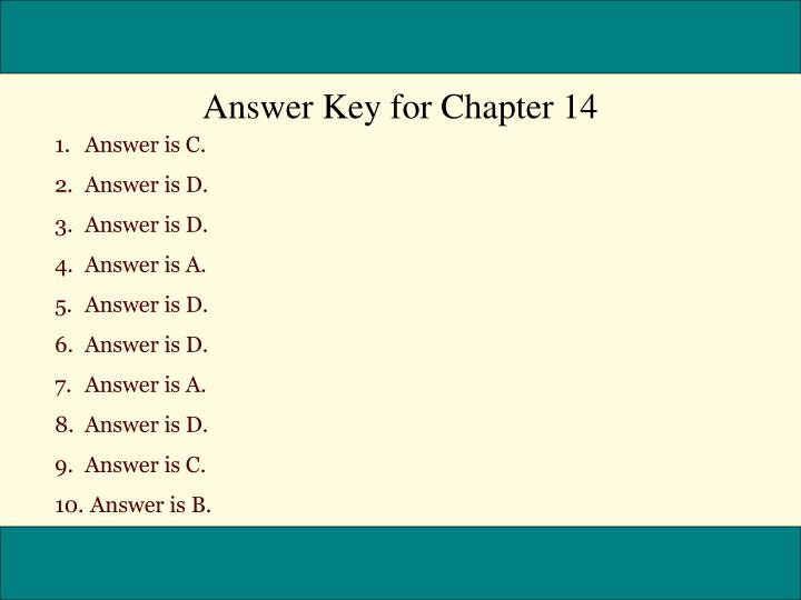 Answer Key for Chapter 14