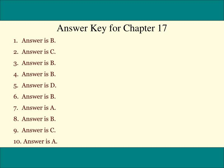 Answer Key for Chapter 17