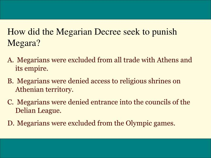 How did the Megarian Decree seek to punish Megara?
