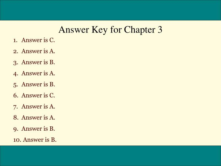 Answer Key for Chapter 3