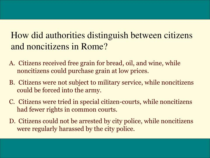 How did authorities distinguish between citizens and noncitizens in Rome?