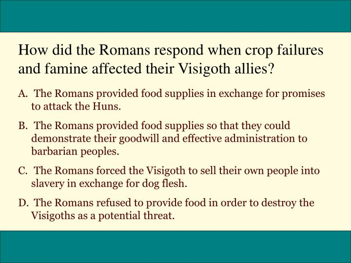 How did the Romans respond when crop failures and famine affected their Visigoth allies?