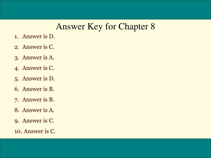 Answer Key for Chapter 8