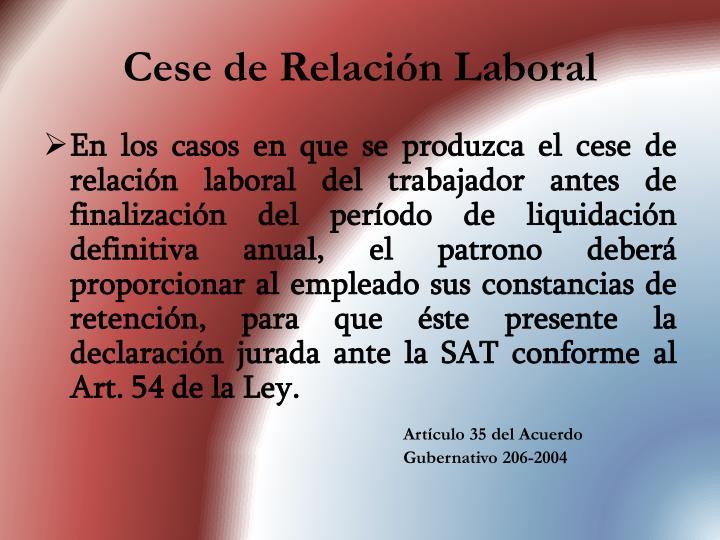Cese de Relación Laboral