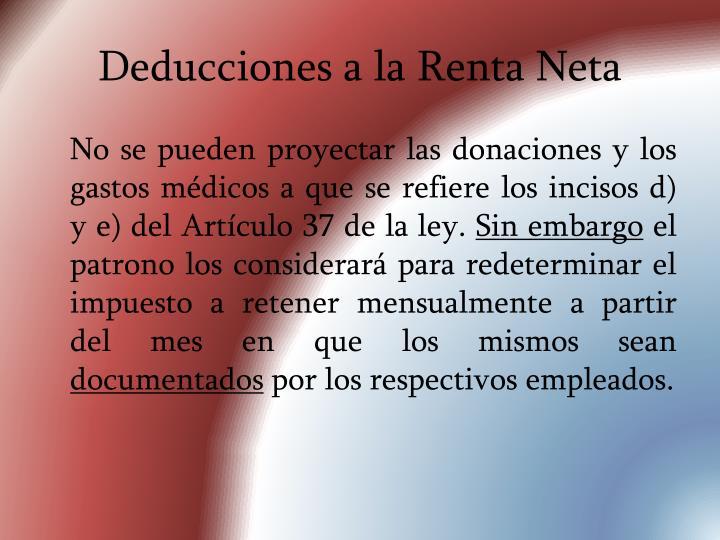 Deducciones a la Renta Neta