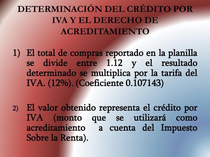 DETERMINACIÓN DEL CRÉDITO POR IVA Y EL DERECHO DE