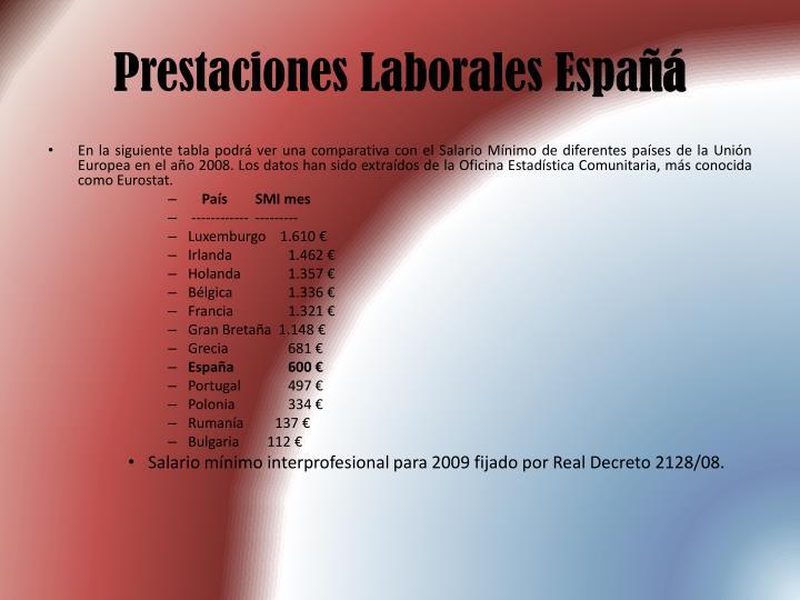 Prestaciones Laborales Espa