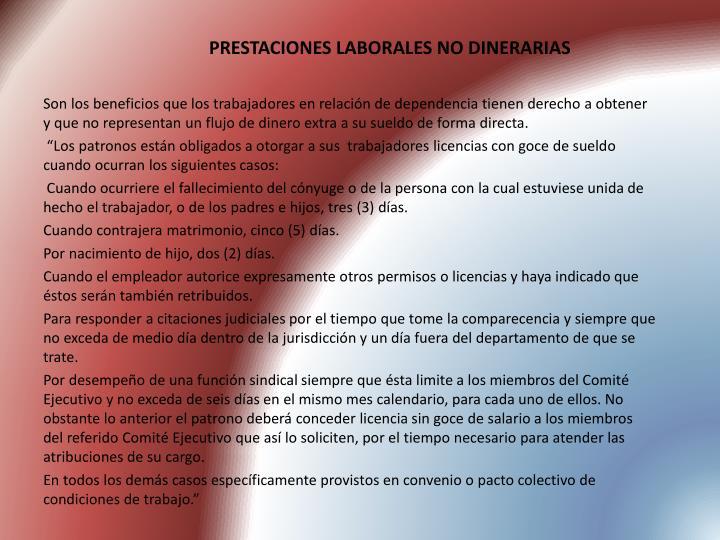 PRESTACIONES LABORALES NO DINERARIAS