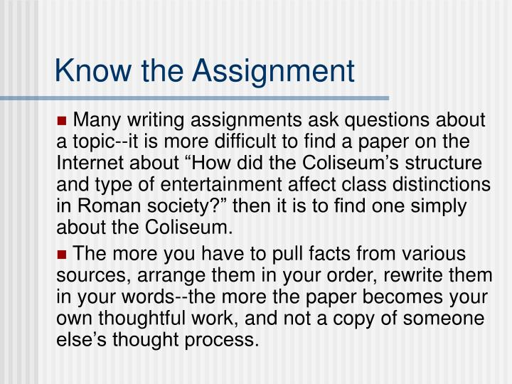 Know the Assignment