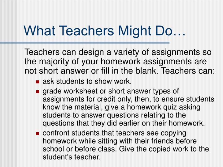 What Teachers Might Do…