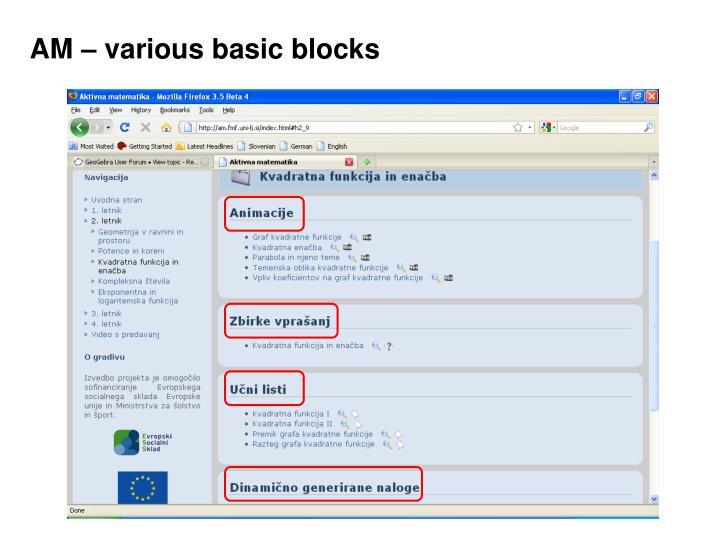 AM – various basic blocks