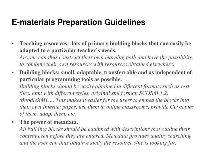 E-materials Preparation Guidelines