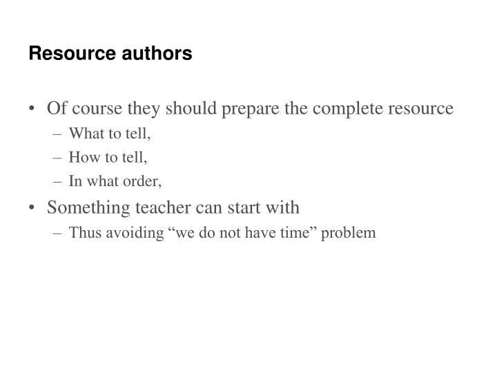 Resource authors