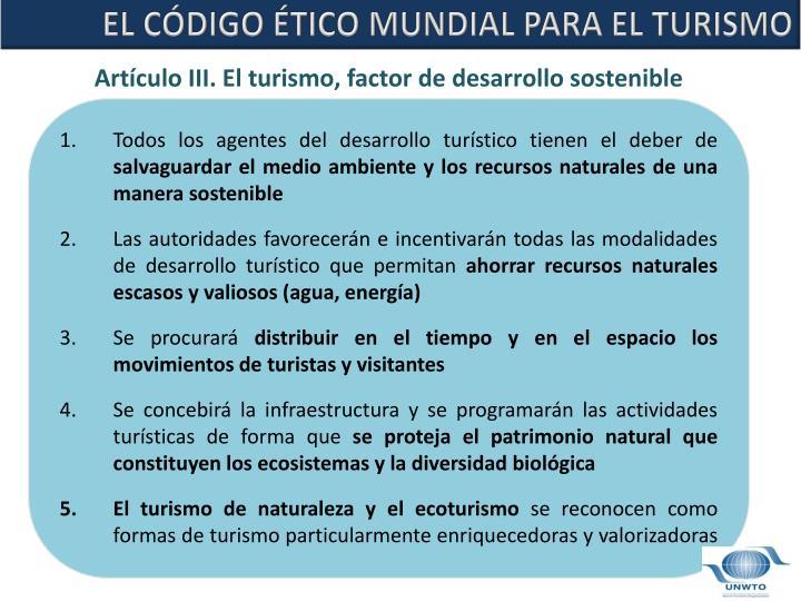 EL CÓDIGO ÉTICO MUNDIAL PARA EL TURISMO
