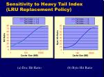 sensitivity to heavy tail index lru replacement policy