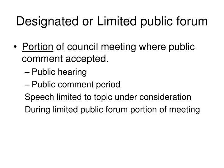 Designated or Limited public forum