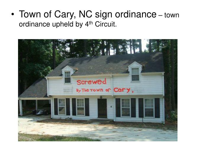 Town of Cary, NC sign ordinance