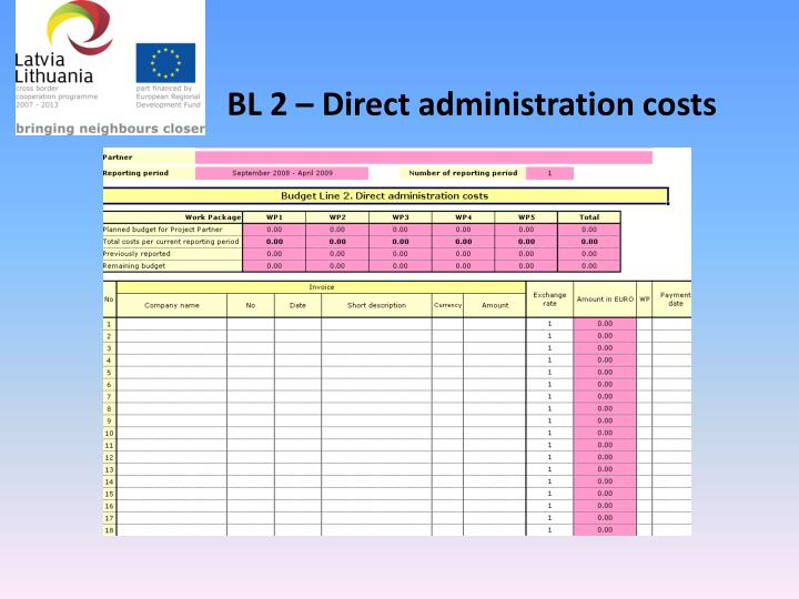 BL 2 – Direct administration costs