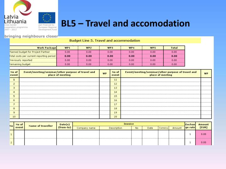 BL5 – Travel and accomodation