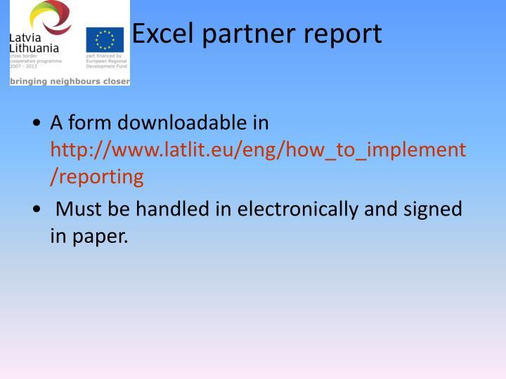 Excel partner report