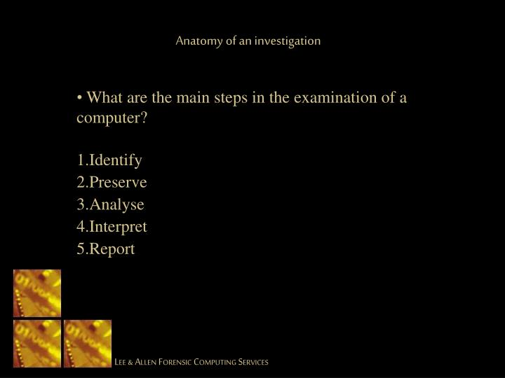 Anatomy of an investigation