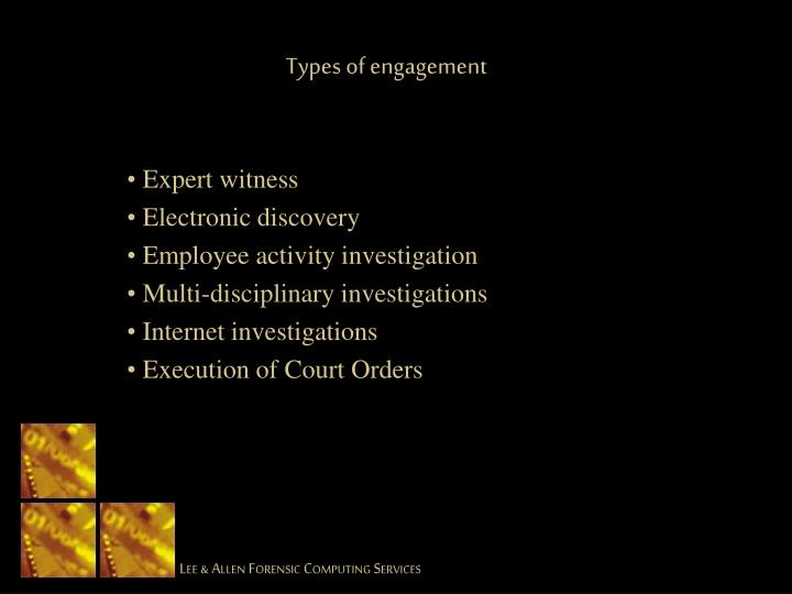 Types of engagement